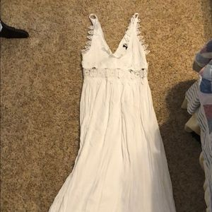 Long LuLus dress with white lace at top